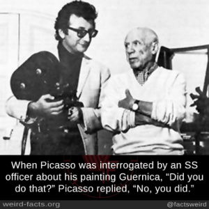 """Facts, Memes, and Weird: When Picasso was interrogated by an SS  officer about his painting Guernica, """"Did you  do that?"""" Picasso replied, """"No, you did.""""  weird-facts.org  @factsweird"""