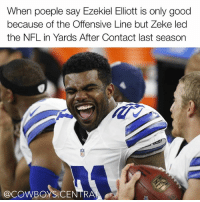 Dallas Cowboys, Memes, and Nfl: When poeple say Ezekiel Elliott is only good  because of the Offensive Line but Zeke led  the NFL in Yards After Contact last season  @COWBOYS RA Your argument is invalid 🐸☕ EzekielElliott CowboysNation