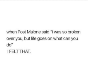 "malone: when Post Malone said ""i was so broken  over you, but life goes on what can you  do""  I FELT THAT."