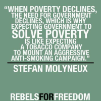 """""""WHEN POVERTY DECLINES.  THE NEED FOR GOVERNMENT  DECLINES, WHICH IS WHY  EXPECTING GOVERNMENT TO  SOLVE POVERTY  IS LIKE EXPECTING  A TOBACCO COMPANY  TO MOUNT AN AGGRESSIVE  ANTI-SMOKING CAMPAIGN.  STEFAN MOLYNEUX  REBELS FORFREEDOM As peace and prosperity grows, government becomes more and more irrelevant. Governments survive and grow by convincing people they can't survive without it."""