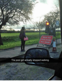 <p>Real Law Abiding Citizen.</p>: WHEN RED  IGHT SHOWS  WAIT HERE  The poor girl actually stopped walking <p>Real Law Abiding Citizen.</p>