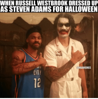 WHEN RUSSELLWESTBROOK DRESSED UP  AS STEVEN ADAMS FOR HALLOWEEN  NBAMEMES Tag a friend you'd dress up as.
