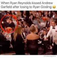 I am speechless. I am without speech! 😂😂😂 costanzagrams: When Ryan Reynolds kissed Andrew  Garfield after losing to Ryan Gosling  @costanzagrams I am speechless. I am without speech! 😂😂😂 costanzagrams