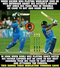 Sachin Tendulkar Virat Kohli ❤❤: WHEN SACHIN WAS PLAYING WORLD CUP 1999 HE  WAS INFORMED ABOUT HIS FATHER'S DEMISE  BUT SINCE HIS TEAM WAS IN TROUBLE  HE CAME TO BAT AND MADE 140 RUNS  ERTAT  Peg entertai  IN 2006 WHEN KOHLI WAS PLAYING RANJI MATCH  HIS FATHER EXPIRED BU HE CAME TO BAT NEXT  MORNING TOOK HIS TEAM TO SAFE HANDS  AND ATTENDED THE FUNERAL  THIS SHOWS THEIR DEDICATION TOWARDS GAME Sachin Tendulkar Virat Kohli ❤❤