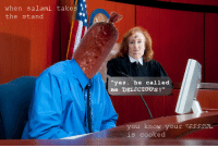 "Reddit, Yes, and Com: when sal.ami takes  the stand  yes. he called  me DELICTOUS!""  you know your GOOOsE  is cooked <p>[<a href=""https://www.reddit.com/r/surrealmemes/comments/7on2x8/c_o_o_k_i_n_g_%E2%9D%B6%E2%93%BF%E2%9D%B6_u_i_l_t_y/"">Src</a>]</p>"