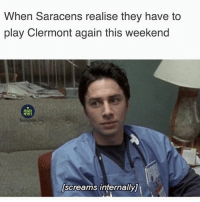 Memes, Time, and Rugby: When Saracens realise they have to  play Clermont again this weekend  RUGBY  MEMES  screams internallyj Surely Clermont will crack 50 this time 😉😉😂😂 rugby clermont saracens