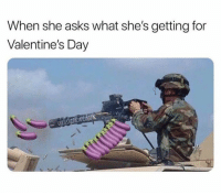 Memes, Valentine's Day, and Asks: When she asks what she's getting for  Valentine's Day  -valsfankwe 😂😂😂  Credit: Humour Hub