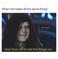 Love, Memes, and Good: When she hates all the same things  comfysweaters  Good Good, Let the hate flow through you. Love at first hate 😍❤️