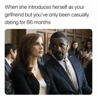 Dating, Wow, and Girlfriend: When she introduces herself as your  girlfriend but you've only been casually  dating for 86 months Aye Aye, Hol On A Minute.. Think We're Moving A Lil Too Fast. 🤨 WoW
