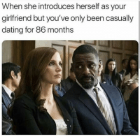 Dating, Funny, and Lol: When she introduces herself as your  girlfriend but you've only been casually  dating for 86 months Slow down Bertha lol
