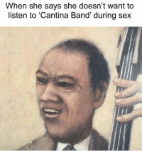 "Dank, Meme, and Sex: When she says she doesn't want to  listen to Cantina Band' during sex <p>S E X via /r/dank_meme <a href=""http://ift.tt/2hzzmgu"">http://ift.tt/2hzzmgu</a></p>"