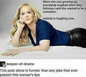 Thats a burn if Ive ever seen one by D3cay1ng_0blivion MORE MEMES: When she was growing up,  everybody laughed when Amy  Schumer sald she wanted to bo a  comedion.  nobody Is laughing now...  keeper-of-drama  This post alone is funnier than any joke that ever  passed this woman's lips Thats a burn if Ive ever seen one by D3cay1ng_0blivion MORE MEMES