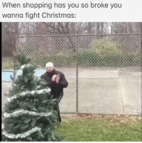 Christmas, Shopping, and Fight: When shopping has you so broke you  wanna fight Christmas: Christmas shopping be having you like...🎄🎁😩 @RobertFrank615 https://t.co/EE8y8rfj2c