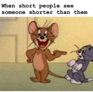 Haha yes: When short people see  someone shorter than them Haha yes