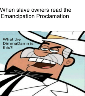 History, Lincoln, and Emancipation Proclamation: When slave owners read the  Emancipation Proclamation  What the  Dimma Damn is  this?! Dimmadamn that Lincoln!