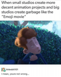 "Emoji, Memes, and Mean: When small studios create more  decent animation projects and big  studios create garbage like the  ""Emoji movie'  鸥tiniesbit101  I mean, youre not wrong... did you watch the emoji movie? this is a scene from the 4 minute short In a Heartbeat"