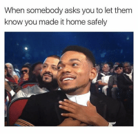 "Good, Home, and Http: When somebody asks you to let them  know you made it home safely <p>This stuff makes me feel so good every time it happens via /r/wholesomememes <a href=""http://ift.tt/2tdXuNv"">http://ift.tt/2tdXuNv</a></p>"