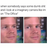 "Dumb, Funny, and Shit: when somebody says some dumb shit  and i look at a imaginary camera like im  on ""The Office"" I do this 10 times a day https://t.co/MfW9D9I0Oh"