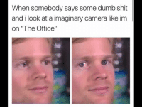 "Dumb, Shit, and The Office: When somebody says some dumb shit  and i look at a imaginary camera like im  on ""The Office"" memehumor:  That's what she said !"