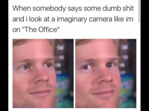 """memehumor:  That's what she said !: When somebody says some dumb shit  and i look at a imaginary camera like im  on """"The Office"""" memehumor:  That's what she said !"""