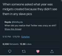 Damn: When someone asked what year was  midgets created because they didn't see  them in any slave pics  Reyda @MsReyda  When did you realize that Twitter was crazy as shit?  Show this thread  5:10 PM .1/15/19 Echofon  6,556 Retweets 12.8K Likes Damn