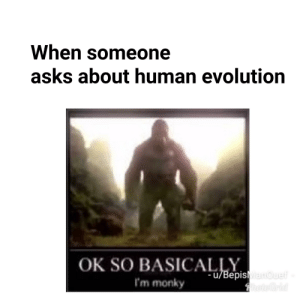 Dead meme time: When someone  asks about human evolution  OK SO BASICAepisMaouelf  I'm monky  hoteGrid Dead meme time