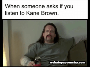 Memes, Asks, and 🤖: When someone asks if you  listen to Kane Brown.  wehatepopcountry.com Just sayin' 🤷‍♂️