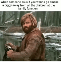 Children, Family, and Memes: When someone asks if you wanna go smoke  a ciggy away from all the children at the  family function Yes I do because I am a cool member of this family.