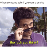 Fuck You, Memes, and Fuck: When someone asks if you wanna smoke  @toptree  the fuck you think? Fuck you think?? @highAF.tv