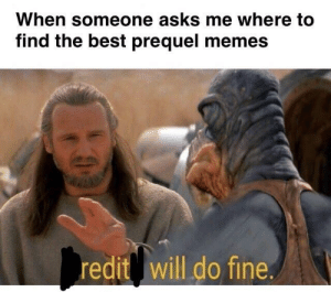 The obvious answer: When someone asks me where to  find the best prequel memes  redit will do fine. The obvious answer