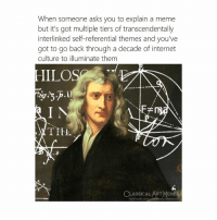 Let me explain: When someone asks you to explain a meme  but it's got multiple tiers of transcendentally  interlinked self-referential themes and you've  got to go back through a decade of internet  culture to illuminate them  IILOS  TITL  0  a.  6  CLASSICALART MEMES  facebook.com cl㎡sica la rtmennes Let me explain