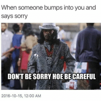 Memes, Be Careful, and 🤖: When someone bumps into you and  Says Sorry  DON'T BESORRY HOE BE CAREFUL  2016-10-15, 12:00 AM When you have to check a bitch . . Follow @hoedity (me) for more 💣💥