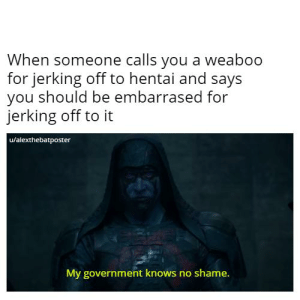 Ronan may suck as a villain but he has HUGE meme potential: When someone calls you a weaboo  for jerking off to hentai and says  you should be embarrased for  jerking off to it  u/alexthebatposter  My government knows no shame. Ronan may suck as a villain but he has HUGE meme potential