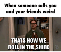 vore: When someone calls you  and your friends weird  THATS HOW WE  ROLL IN THE SHIRE