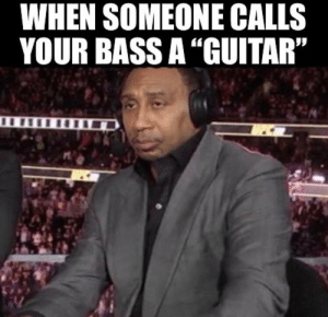 "Ever since instagram found out I played guitar the app would reccomend me these god awful guitarist/bassist/metal memes and I feel my soul die every time I see one: WHEN SOMEONE CALLS  YOUR BASS A ""GUITAR"" Ever since instagram found out I played guitar the app would reccomend me these god awful guitarist/bassist/metal memes and I feel my soul die every time I see one"