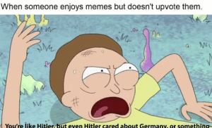 Dank, Memes, and Target: When someone enjoys memes but doesn't upvote them  Mr  2.  You're like Hitler but even Hitler cared about Germany, or something Enjoy your memes . by Braveharth MORE MEMES