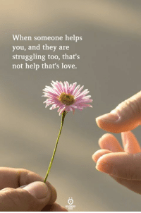 Love, Help, and Helps: When someone helps  you, and they are  struggling too, that's  not help that's love.