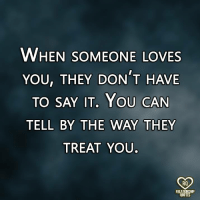 Memes, Say It, and Quotes: WHEN SOMEONE LOVES  YOU, THEY DON T HAVE  TO SAY IT, YOU CAN  TELL BY THE WAY THEY  TREAT YOU.  RO  RELATIONSHP  QUOTES