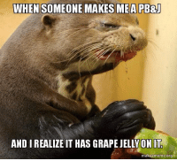 When they don't use strawberry jelly.: WHEN SOMEONE MAKES MEA PB&J  ANDIREALIZE IT HAS GRAPE JELLY ON IT  makeameme.org When they don't use strawberry jelly.