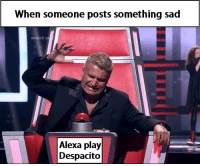 Sad, Been, and Alexa: When someone posts something sad  Alexa pla)y  Despacito Been there