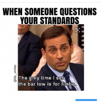 Meme, Memes, and Pop: WHEN SOMEONE QUESTIONS  YOUR STANDARDS  The enly time I se  e onl  the bar low is for limbo GUYS I totally forgot about this meme but I was on pintrest looking at Mormon memes to see if any of mine would pop up and like a whole bunch did so I clicked on the link and it took me to an LDSLiving ARTICLE where they had posted a bunch of my memes!!!!!!! So exciting!!!!