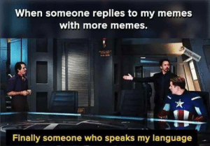 Memes, Who, and Language: When someone replies to my memes  with more memes.  Finally someone who speaks my language
