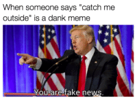 """Dank, Fake, and Meme: When someone says """"catch me  outside"""" is a dank meme  You are fake news <p>normies</p>"""