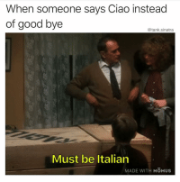 Funny, Good, and Tank: When someone says Ciao instead  of good bye  @tank.sinatra  Must be Italian  MADE WITH MOMUS Adios