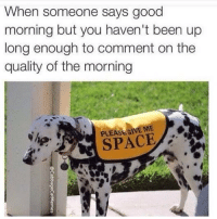 good quality: When someone says good  morning but you haven't been up  long enough to comment on the  quality of the morning  PLEASEGIVE ME  SPACE good quality