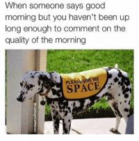 If it's before noon and I'm actually awake I can guarantee it is NOT a good morning 😒 (@cabbagecatmemes ): When someone says good  morning but you haven't been up  long enough to comment on the  quality of the morning  PLEASE GIVE ME  SPACE If it's before noon and I'm actually awake I can guarantee it is NOT a good morning 😒 (@cabbagecatmemes )