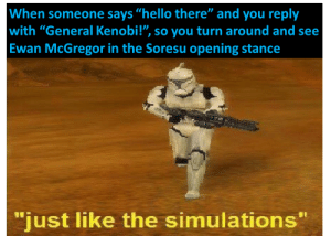 "Please, reddit, let me post without a title!: When someone says ""hello there"" and you reply  with ""General Kenobi!"", so you turn around and see  Ewan McGregor in the Soresu opening stance  ""just like the simulations"" Please, reddit, let me post without a title!"