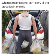 Try me 😂  Like Ownage Pranks for MORE funny pics!: When someone says I can't carry all the  groceries in one trip  otunage Pränks Try me 😂  Like Ownage Pranks for MORE funny pics!