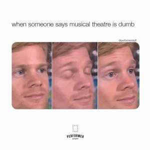 #theatre #theatrememes #PerformerStuff: when someone says musical theatre is dumb  @performerstuff  PERFORMER  STUFF #theatre #theatrememes #PerformerStuff