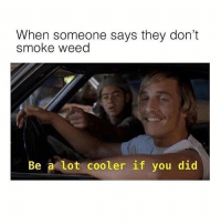 Dank, Meme, and Weed: When someone says they don't  smoke weed  Be a lot cooler if you did Follow @herb for all of your dank meme needs